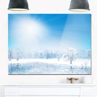 Glowing Winter Sun - Landscape Photography Glossy Metal Wall Art