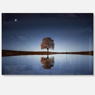 Tree Near Lake at Night - Landscape Photography Glossy Metal Wall Art
