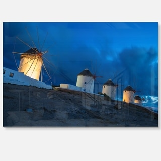 Mykonos Windmills at Blue Hour - Landscape Photo Glossy Metal Wall Art