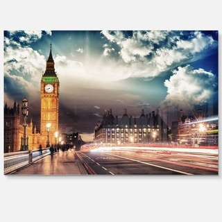 Big Ben from Westminster Bridge - Cityscape Photo Glossy Metal Wall Art