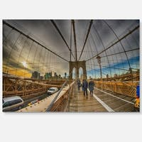 Strolling on Brooklyn Bridge - Landscape Photo Glossy Metal Wall Art