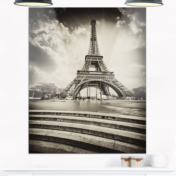 shop eiffel tower in gray shade landscape photo glossy metal wall