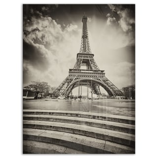 Eiffel Tower in Gray Shade - Landscape Photo Glossy Metal Wall Art