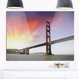 Gold Gate Bridge and Sky - Landscape Photo Glossy Metal Wall Art