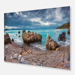 Blue Volcanic Beach - Seashore Photography Glossy Metal Wall Art