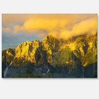 Highrise Green Mountains - Landscape Photo Glossy Metal Wall Art