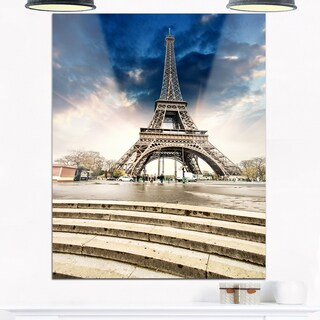 Eiffel Tower with Stairs - Landscape Photo Glossy Metal Wall Art