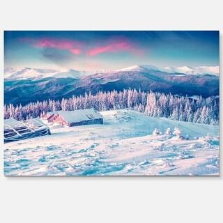 Winter Morning in Carpathian - Landscape Photo Glossy Metal Wall Art