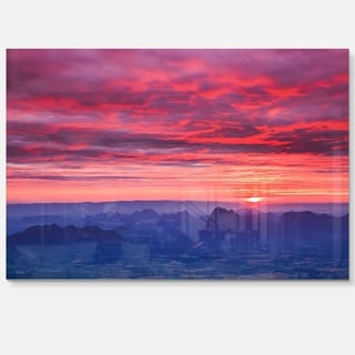 Red and Blue Winter Mountains - Landscape Photo Glossy Metal Wall Art