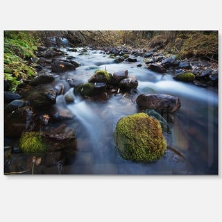 Fast Flowing Mountain River - Landscape Photography Glossy Metal Wall Art
