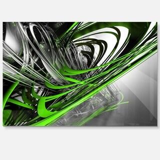 Fractal 3D Green Silver Stripes - Abstract Art Glossy Metal Wall Art