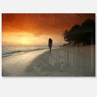 Woman Walking on Beach - Seashore Photo Glossy Metal Wall Art