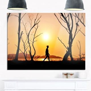 Man Walking Alone in Evening - Landscape Photo Glossy Metal Wall Art