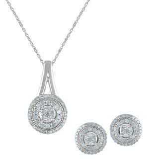Silver Diamond Pendant and Earring Box Set