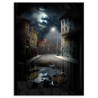 Night Street Collage - Landscape Art Glossy Metal Wall Art