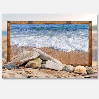 Framed Waves and Rocks - Seashore Art Glossy Metal Wall Art