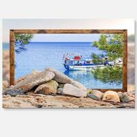 Framed Boat in Ocean - Seashore Art Glossy Metal Wall Art