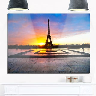 Eiffel Tower at Beautiful Sunrise - Landscape Photo Glossy Metal Wall Art
