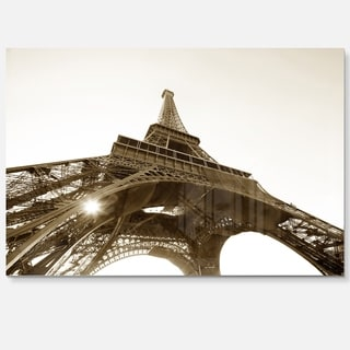 Eiffel Tower Straight Into Sky - Photography Glossy Metal Wall Art