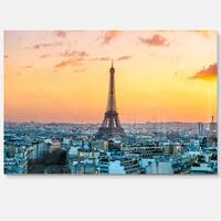 Eiffel at Sunrise in Paris - Cityscape Photography Glossy Metal Wall Art