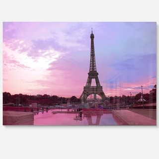 Eiffel Tower in Purple Tone - Landscape Photo Glossy Metal Wall Art