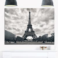 Eiffel Tower Under Dramatic Sky - Skyscape Photo Glossy Metal Wall Art