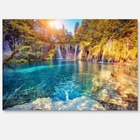 Turquoise Water and Sunny Beams - Landscape Photo Glossy Metal Wall Art