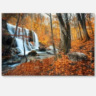 Autumn Mountain Waterfall Close View - Landscape Photo Glossy Metal Wall Art
