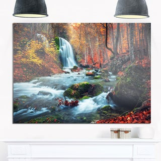 Autumn Mountain Waterfall Long View - Landscape Photo Glossy Metal Wall Art