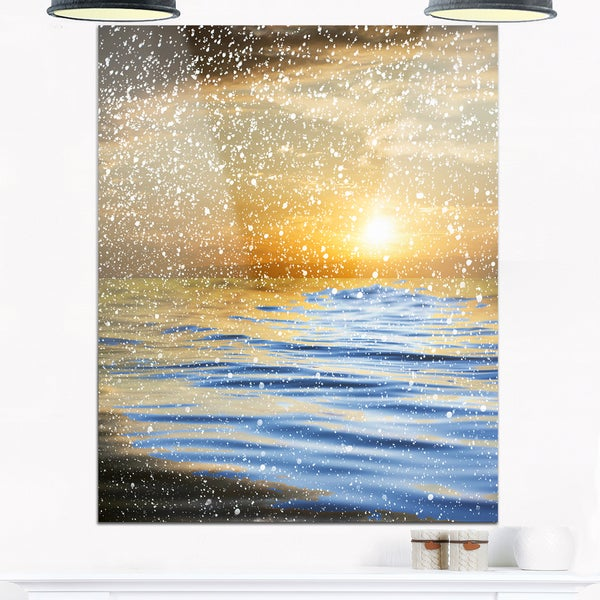Clouds with Reflection in Water - Seashore Photo Glossy Metal Wall Art