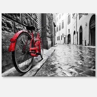 Retro Vintage Red Bike - Cityscape Photo Glossy Metal Wall Art