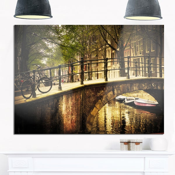 Romantic Bridge Over Canal - Landscape Photo Glossy Metal Wall Art