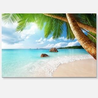 Praslin Island Seychelles Beach - Seashore Photo Glossy Metal Wall Art