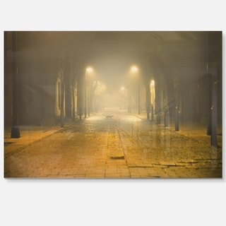 Urban Street at Night - Landscape Photo Glossy Metal Wall Art