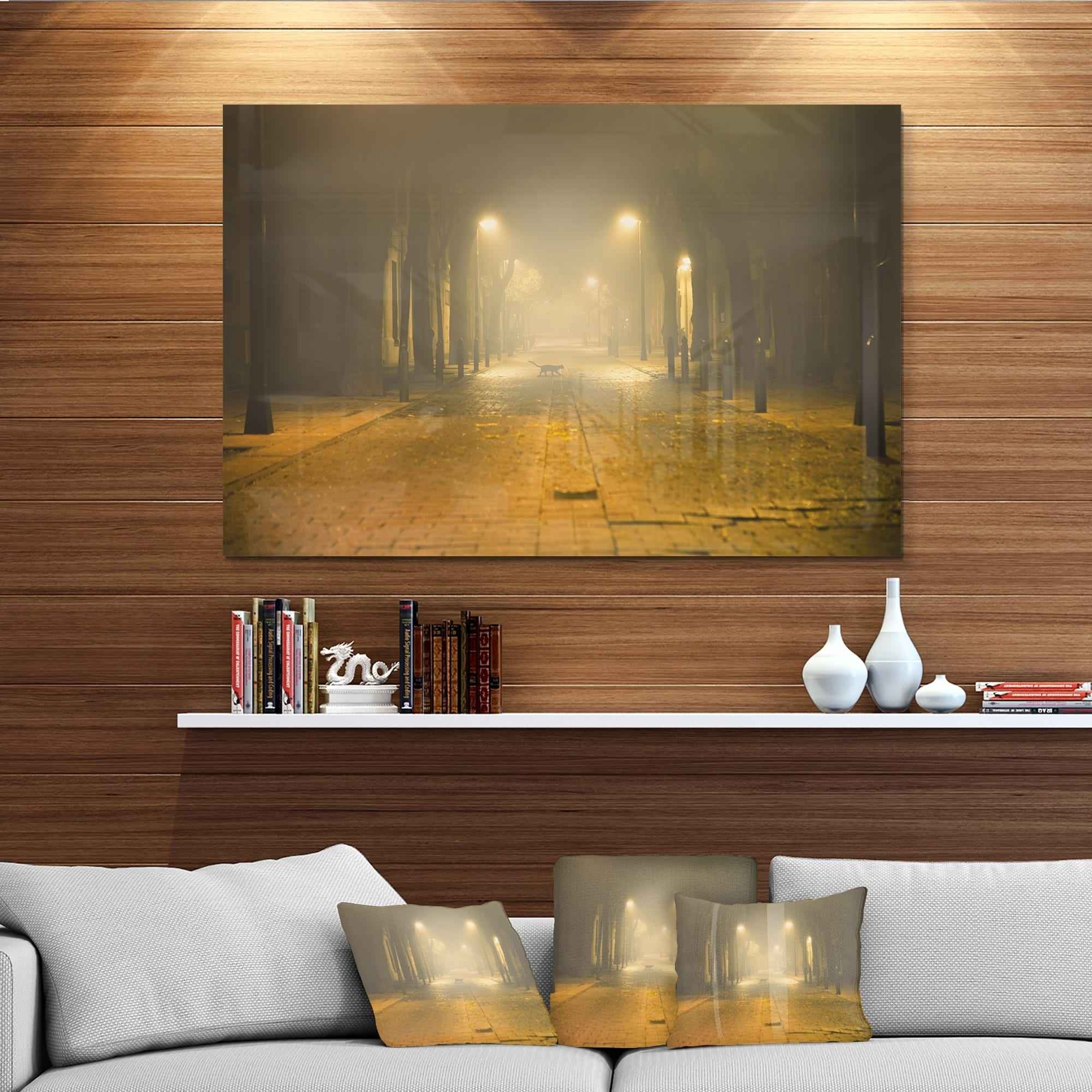 Urban Street At Night Landscape Photo Glossy Metal Wall Art Overstock 12780149