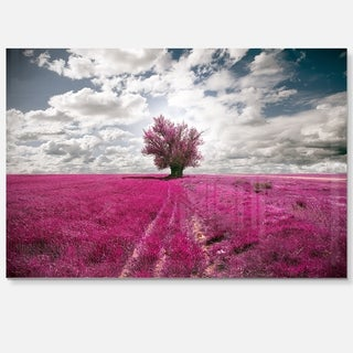 Purple Tree Dreamscape - Landscape Photo Glossy Metal Wall Art
