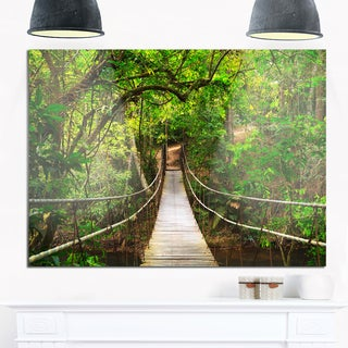 Bridge to Jungle, Thailand - Landscape Photo Glossy Metal Wall Art