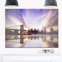 Purple Sky Over Brooklyn Bridge - Cityscape Photo Glossy Metal Wall Art