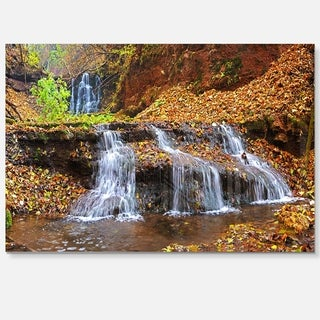 Dniester Canyon Spring Waterfalls - Landscape Photo Glossy Metal Wall Art