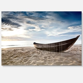 Old Fisherman Boat - Seashore Photography Glossy Metal Wall Art