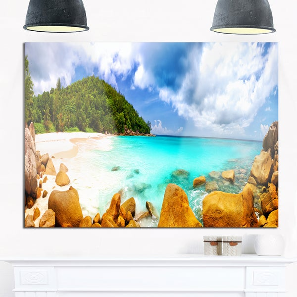 Seychelles Beach Panorama - Seascape Photo Glossy Metal Wall Art