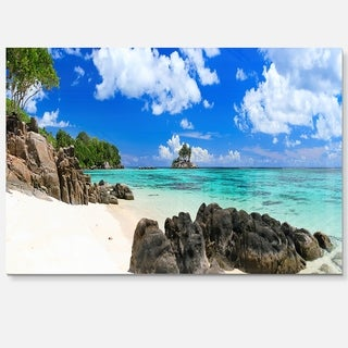 Ideal Beach in Seychelles - Seascape Photo Glossy Metal Wall Art