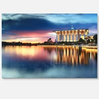 Iron Mosque Malaysia Panorama - Seashore Photo Glossy Metal Wall Art