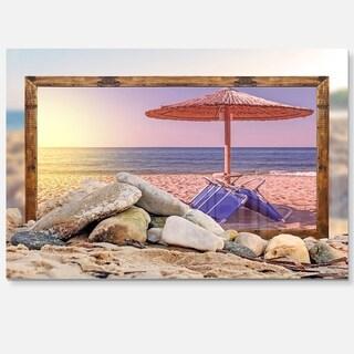 Framed Beach Sunset - Seashore Art Glossy Metal Wall Art