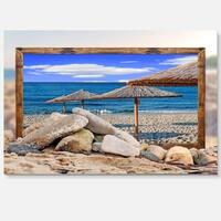 Framed Beach Umbrellas - Seashore Art Glossy Metal Wall Art