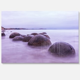 Moeraki Boulders New Zealand - Seashore Photo Glossy Metal Wall Art