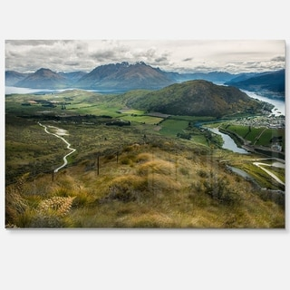 Fields and Hills in New Zealand - Landscape Photo Glossy Metal Wall Art