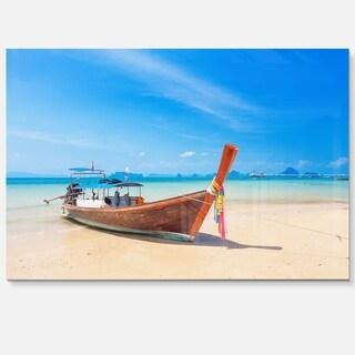 Tropical Beach with Boat - Seashore Photo Glossy Metal Wall Art