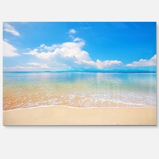 Large Clouds Over Calm Beach - Seashore Photo Glossy Metal Wall Art