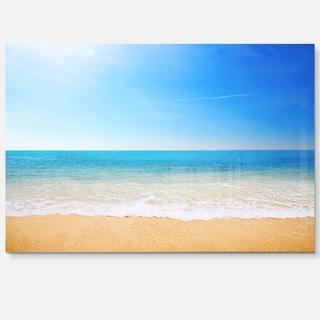 Blue Waves at Tropical Beach - Seashore Photo Glossy Metal Wall Art
